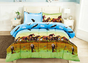 3 Piece Set 3d Horse And Eagles Print Comforter Brown Green Blue