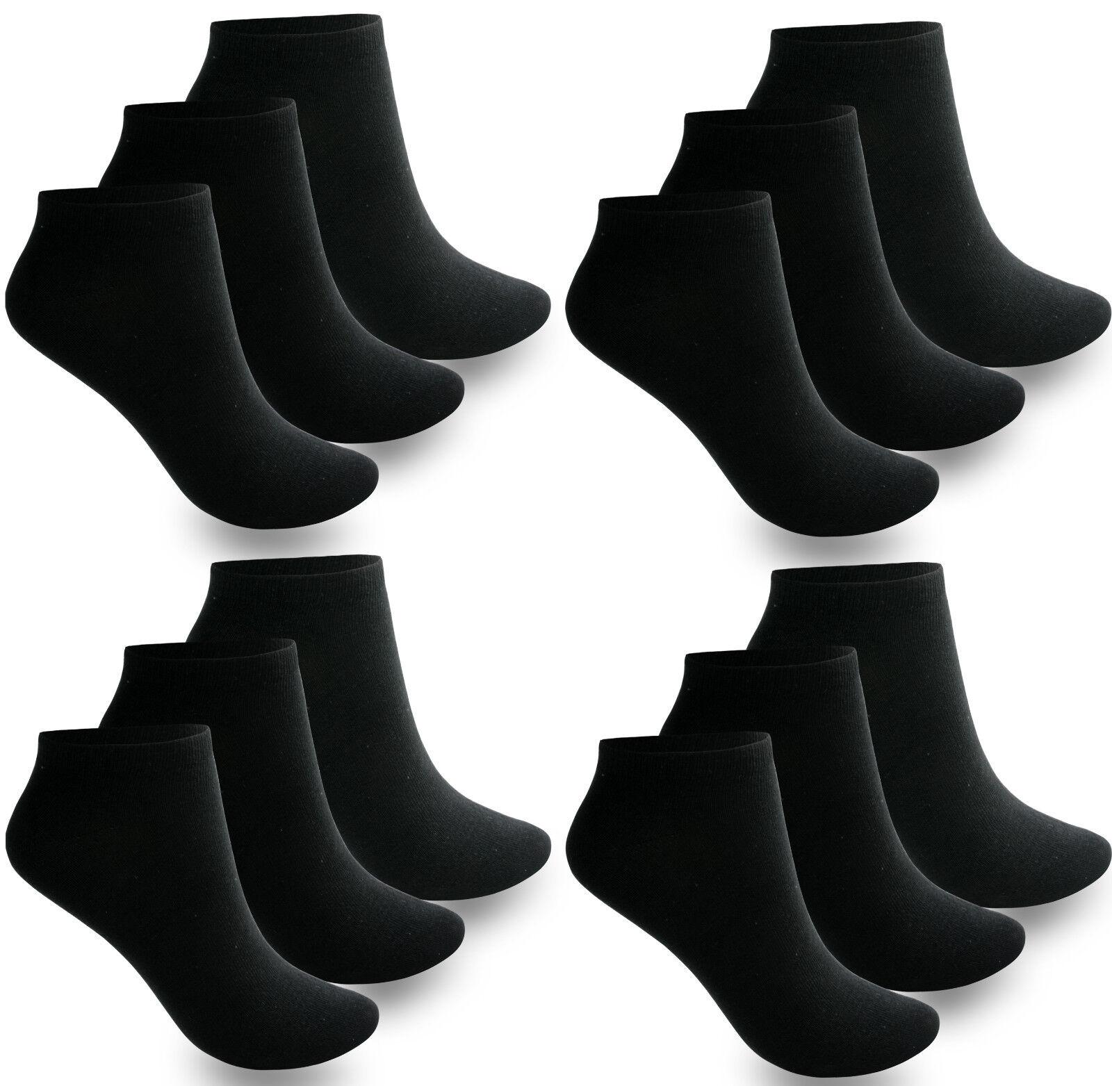 12 bis 60 Paar Damen Herren Socken Sport Freizeit Sneaker Baumwolle Schwarz Weiß