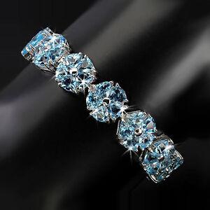925-Sterling-Silber-Armband-Weissgold-beschichtet-Natural-65-St-5-0-mm-Blautopas