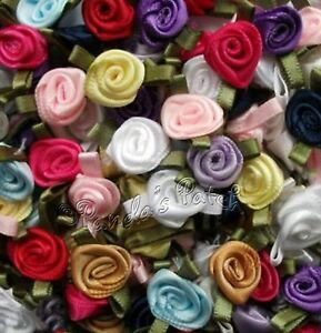 Mini-Small-Satin-Ribbon-Roses-with-Satin-Leaves-Choose-Colour-Pack-Size-Free-P-amp-P