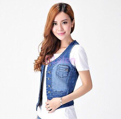 Summer Womens Sleeveless Frayed Denim Vest Jean Waistcoat Blue Jacket CN S-4XL