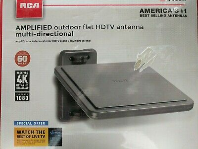Omni-Directional Amplified Outdoor TV Antenna RCA ANT800 Flat Panel Digital