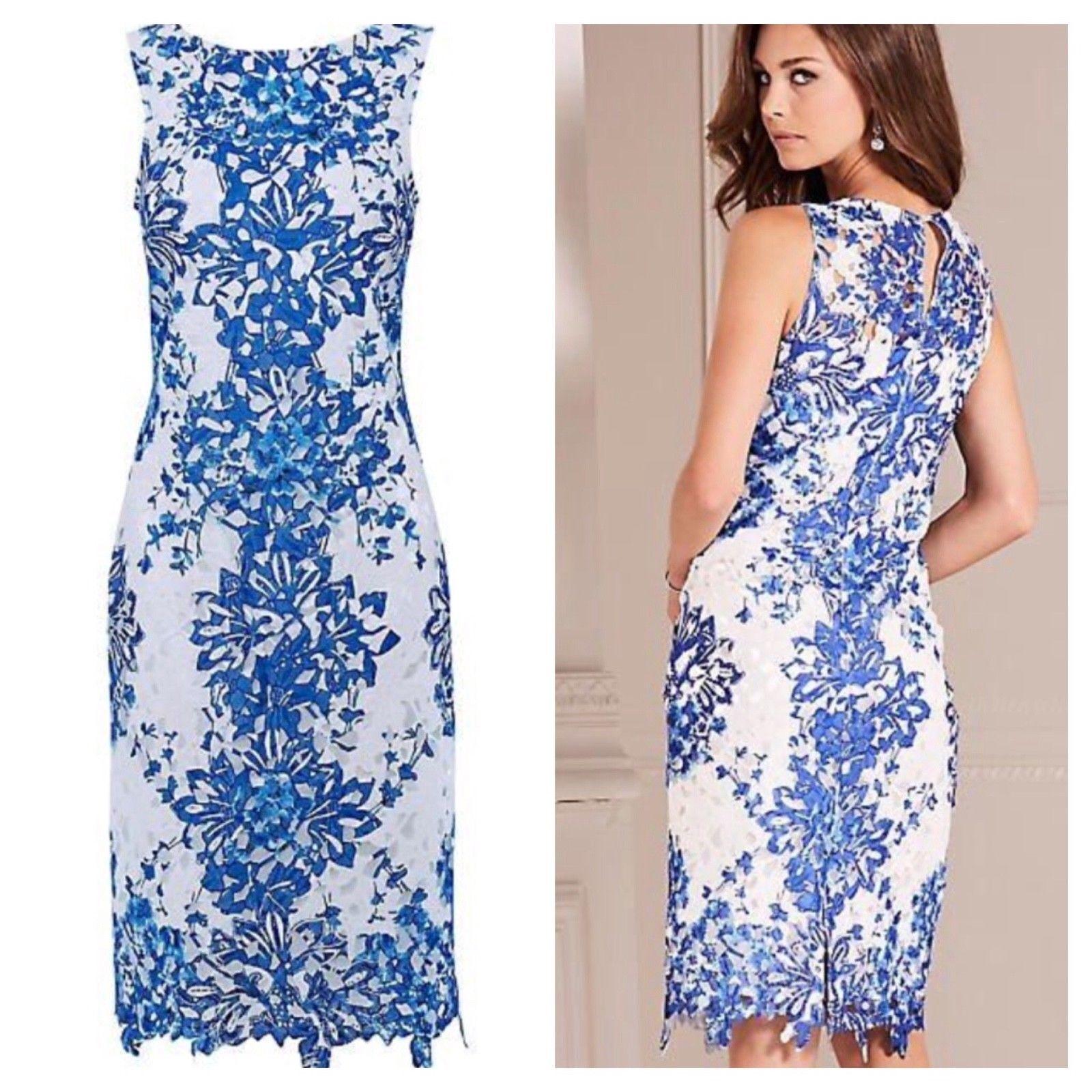 Kaleidoscope Size 10 bluee Lace Printed Shift DRESS Occasion Wedding Evening