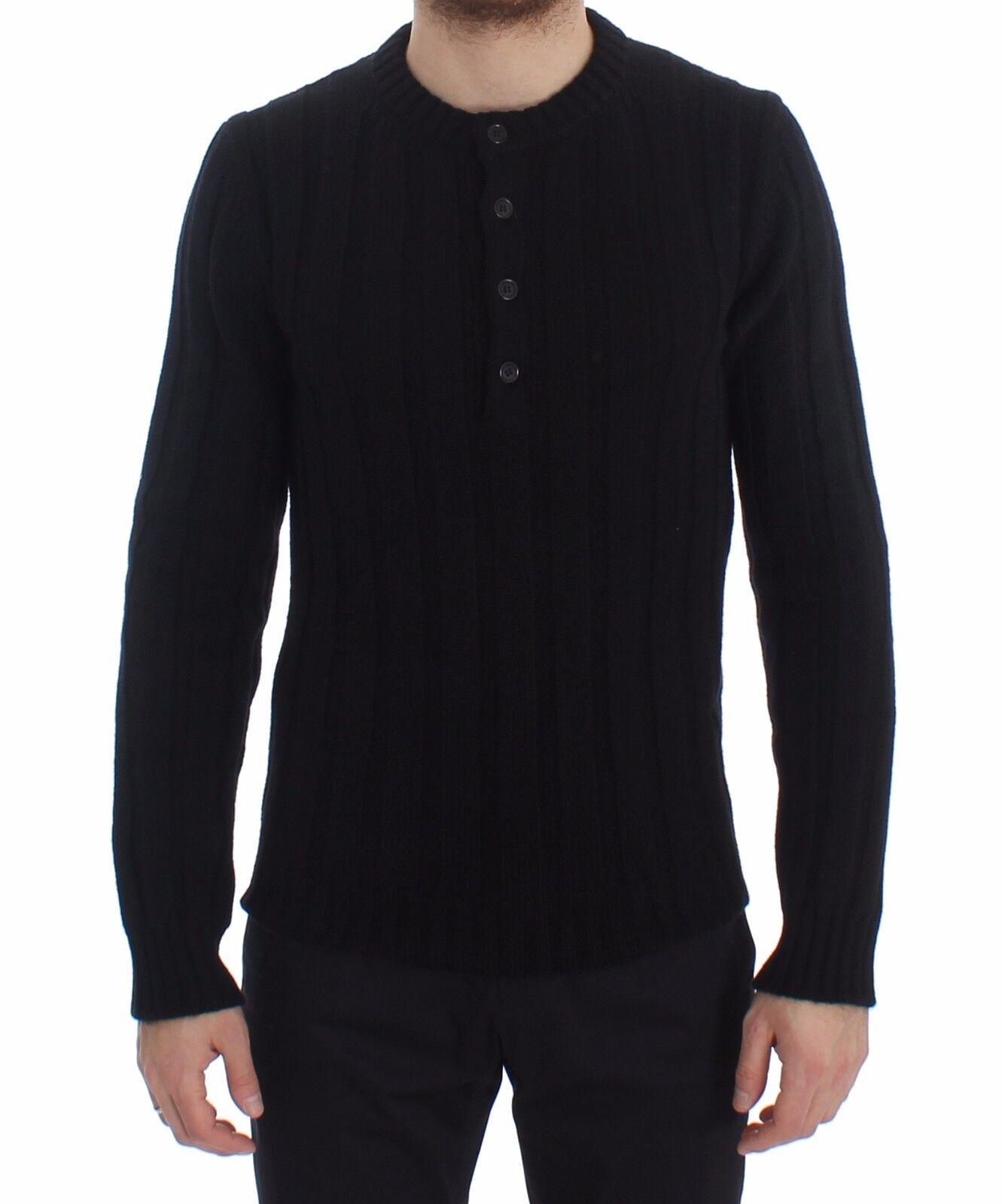 Nuevo Dolce & Gabbana Jersey Cachemira Negro Henley Punto Hombre S. IT52/XL