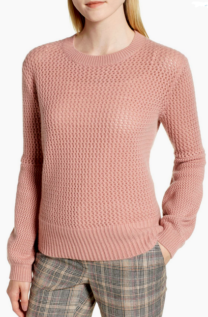 Nordstrom Signature Cashmere Multistitch Sweater Pink Ash XL NWT $329