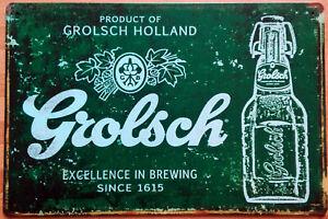Blechschild GROLSCH HOLLAND Bier Beer Ale 30 x 20 cm Metallschild Vintage NEU