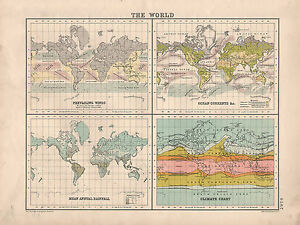 World Map With Currents.1899 Victorian Map The World Annual Rainfall Ocean Currents