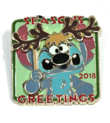Details about  /Disney Pin Trading Stitch Reindeer Mask Seasons Greetings 2018 Slider Christmas
