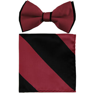 New-formal-Men-039-s-polyester-pre-tied-bow-tie-hankie-black-burgundy-stripes-prom