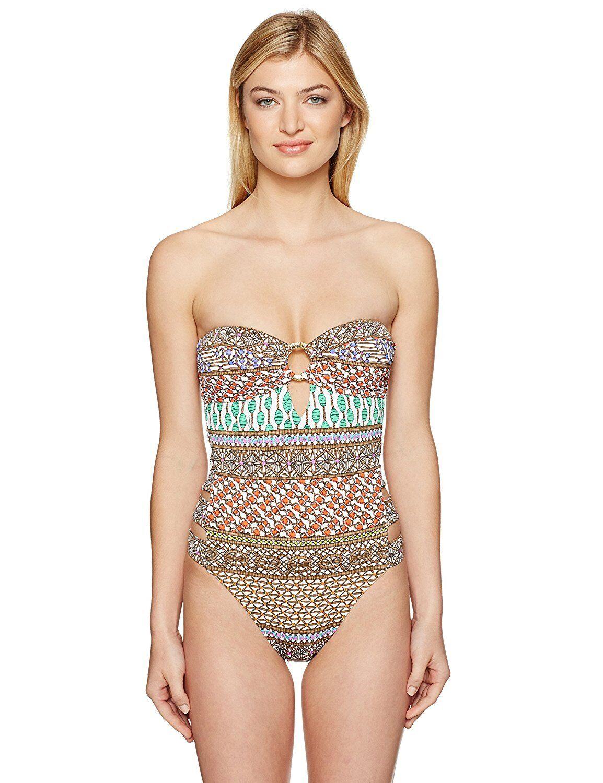 9439-2 Trina Turk Women's Macrame Mix One Piece Swimsuit, Multi Multi, 12,  160