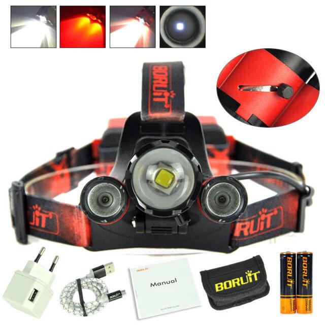 BORUIT Headlamp Red LED Zoom XM-L2 2X XPE Hunting Deer 18650 Micro USB Headlight