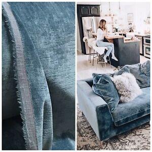 NEW-Designer-Antique-Inspired-Velvet-Fabric-Blue-Upholstery