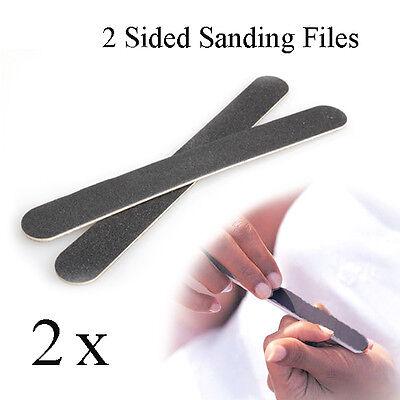 2 Pcs Manicure Salon Buffer Sandpaper Nail Art Tool Files Buffing Double Side #T