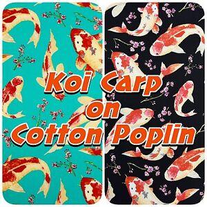 100 cotton poplin koi carp japanese oriental fish dress for Koi fish print fabric