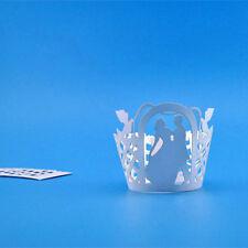Decorations Case 12Pcs Pearly Paper Wedding Couple Design Vine Lace Cup Cake