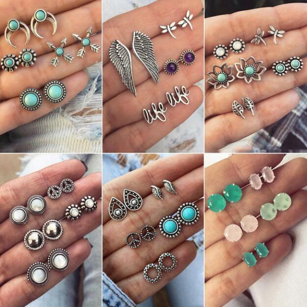 12 Pairs Fashion Boho Women Crystal Pearl Earrings Set Ear Stud Jewelry Gifts