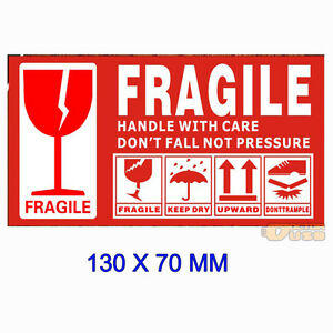 large 130x70mm warning fragile lable tag handle with care caution