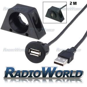 USB 2.0 de montaje al ras Socket Extension Cable adaptador de puerto/plomo/entrada 2M coche  </span>