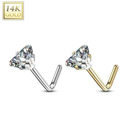 1 x 14K Solid GOLD pierced NOSE BONE Stud piercing Ring PINK cz gem jewel HEART*
