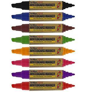 Artline 2-In-1 Twin Tip Whiteboard Markers Drywipe Pens