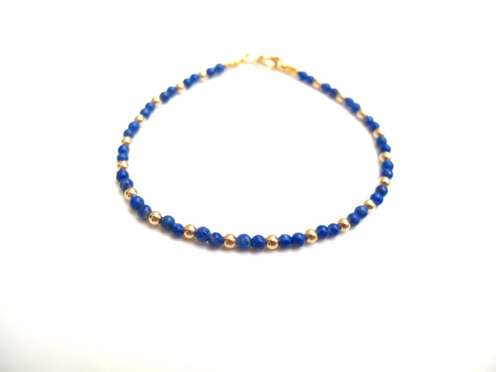 14 k gold beads bead yellow bluee lapis gem natural bracelet genuine small lbluei