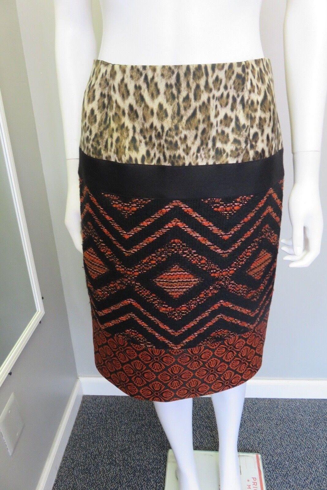 Giambattista valli skirt Sz 2 animal print top tweed in the middle and broacade