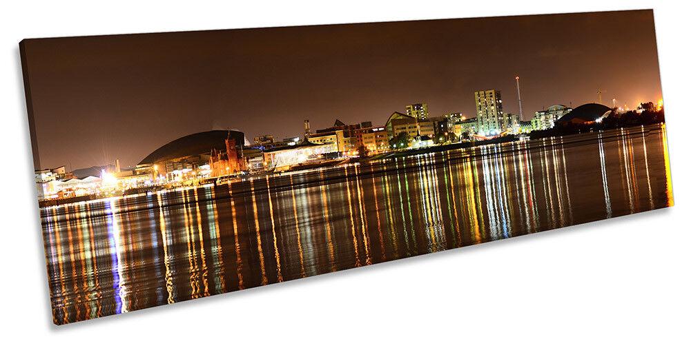 Cardiff Bay Skyline Bild PANORAMA CANVAS Wand Kunst Drucken