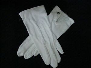 Mens-039-gloves-formal-parade-white-dress-all-cotton-with-snaps-sz-S-XL-NEW