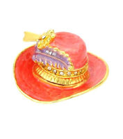Red Hat Society Style Jewelry Trinket Box Yellow Base Metal 3 Tone Enamel