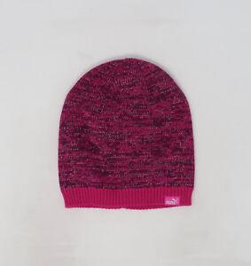 8a753e52dfa PUMA Evercat Shimmer Cat Dark Pink Purple Beanie Knit Cap Adult Men ...