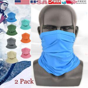 Face-bike-Mask-Sun-Shield-Neck-Gaiter-Balaclava-Neckerchief-Bandana-Headband-x-2