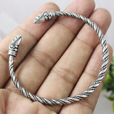 Viking Odin's Raven Head Solid Hand Crafted Sterling Silver Bracelet Bangle 1004