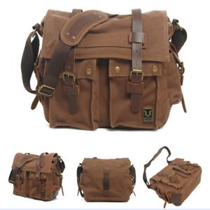 Men s Vintage Canvas Leather Satchel School Military Shoulder Bag ... d7b531d51a
