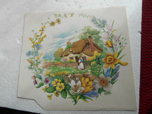 "1990s 8"" SIGNED WATER TRANSFER OF ENGLISH THATCHED COTTAGE WITH FLORAL SURROUND"