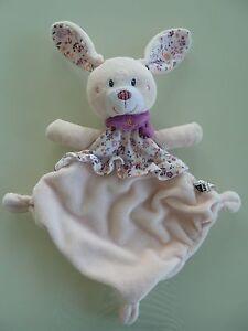 24  DOUDOU PLAT TEX BABY LAPIN ROSE FOULARD MAUVE fleurs TBE   eBay 021a79b39f8