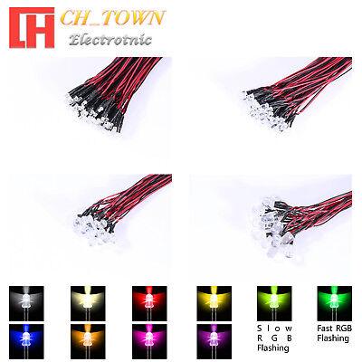 10pcs LED Light Bulb 20cm Line Pre Wired 3mm 12V DC Red Light Emitting Diode New