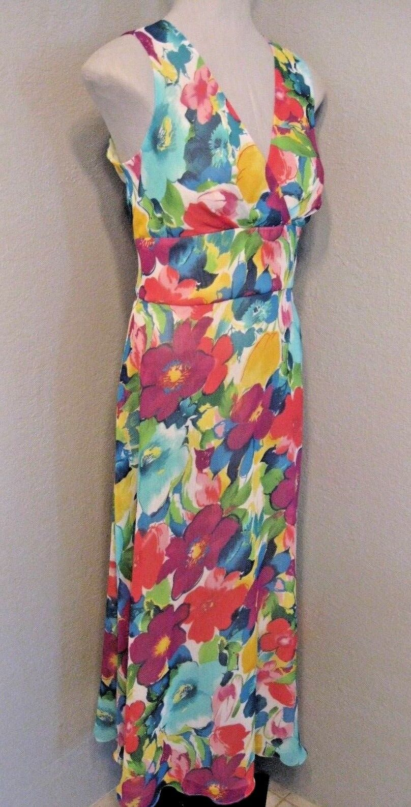 Coldwater Creek NWT Dress Sz. 10 Sheer Floral Print Sleeveless Lined