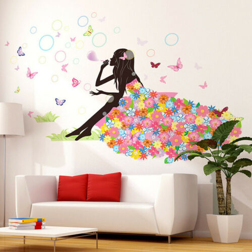 Angel Flower Girl Butterfly Flower Fairy Wall Stickers for Home Room Xmas Decor