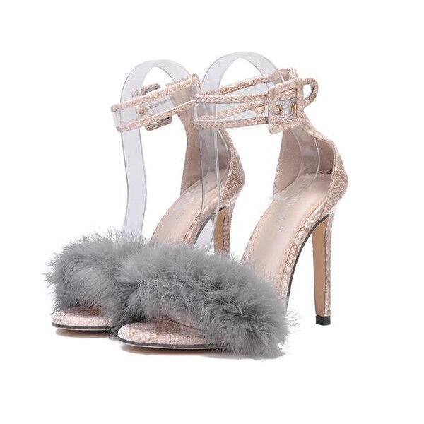 Sandali eleganti tacco stiletto 11 cm grigio pelliccia simil pelle eleganti 9806