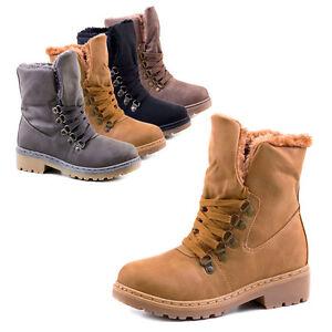 NEU Schuh Stiefelette gefütterte Damen Winter Boot KunstFell 36 37 38 39 40 41