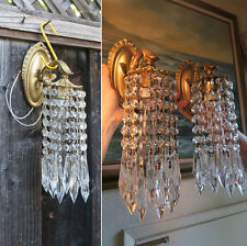 PR Vintage small Sconces French Brass bronze fountain waterfall Crystal lamps
