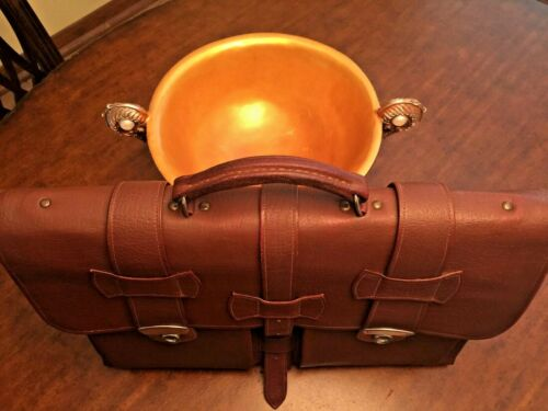 1950s French Midbelted All Leather Briefcase / Att