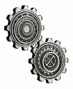 2-Coin-Set-2020-Tuvalu-1-1-oz-Silver-Industry-In-Motion-Gear-shaped-Antiqued-BU