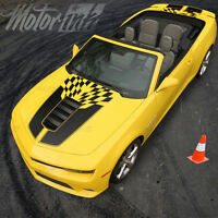 2014 2015 Chevy Camaro Convertible Checkered Rally Racing Stripes Hood &trunk Ss