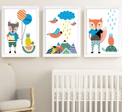 Scandinavian Animaux Nursery Prints Lot