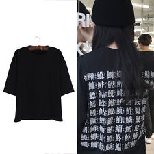 Damen T-Shirt Harajuku Rücken Chinesisch Japanisch Druck Locker Rundhals Schwarz