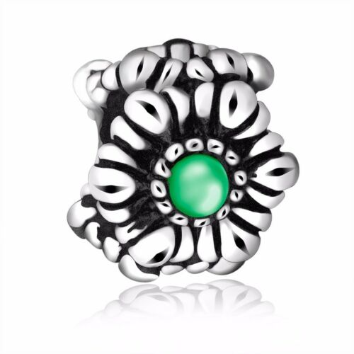 Colorful Glass Flower Bead Charm For Sterling 925 Silver Bracelets Chain Jewelry