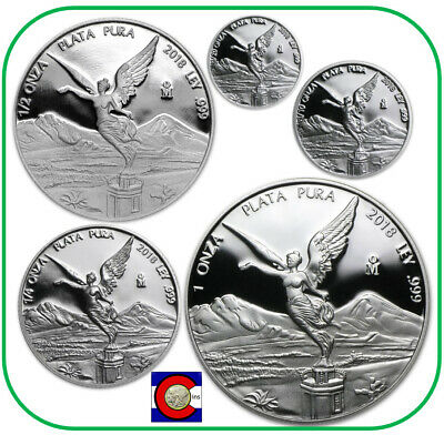 Libertad 1 1//2 1//4 1//10 1//20 oz .999 fine silver Proof Set Mexico 2017 only 1000