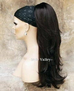 Brown-Black-Ponytail-Extension-Hair-Long-Wavy-Layered-Clip-in-on-Hairpiece