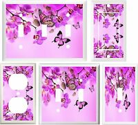 Beautiful Purple Orchards Flowers & Butterflies Switch Or Outlet Cover V598